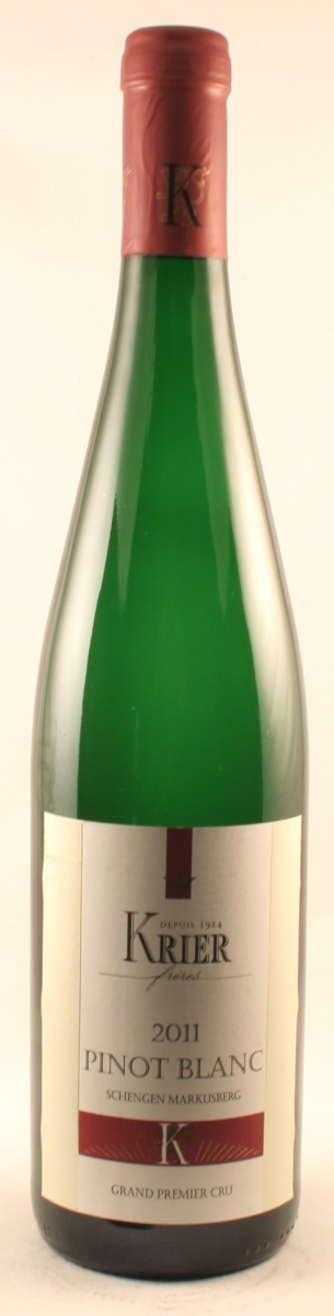 Witte wijn: Caves Krier Frères, Pinot-blanc Grand Premier Cru, Schengen, Markusberg 2018